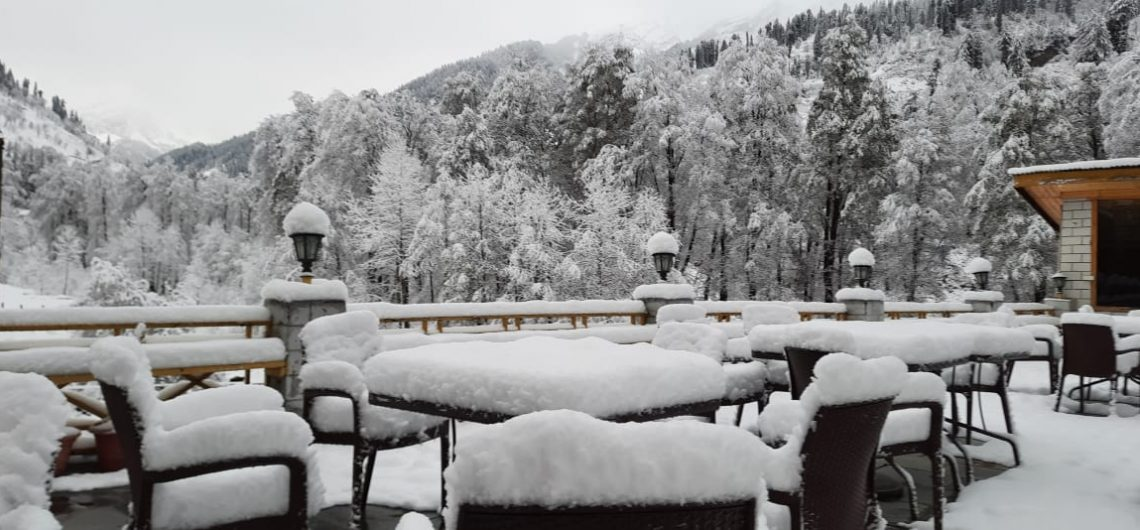 Snowfall in Solang valley of Manali